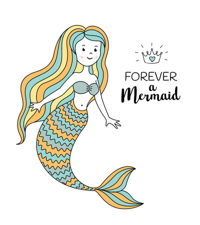 Cute little mermaid. Under the sea vector illustration. Forever a mermaid text
