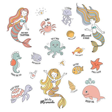 Mermaids cartoon characters with cute sea animals vector set Vettoriali