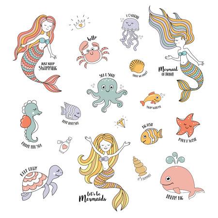 Mermaids cartoon characters with cute sea animals vector set Illustration