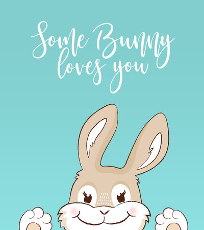 A Some bunny loves you greeting card icon isolated on plain background.
