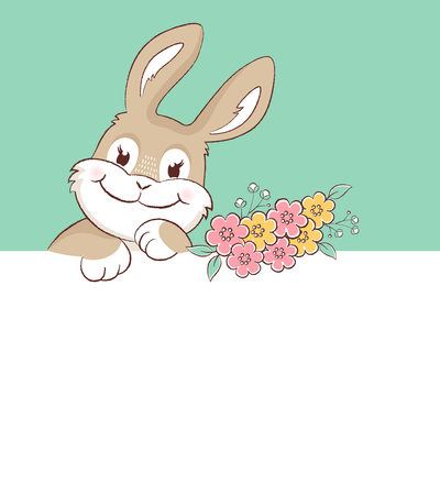 Easter bunny greeting card with copy space