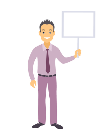 Business man character with a blank message board.
