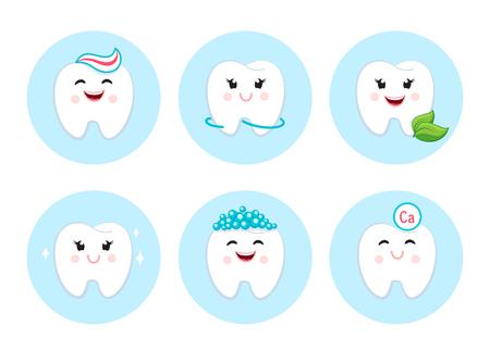 Teeth clean floss toothpaste and bubbles foam. Dental hygiene set