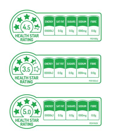 Nährwertangaben mit Health Star Rating Vektorgrafik