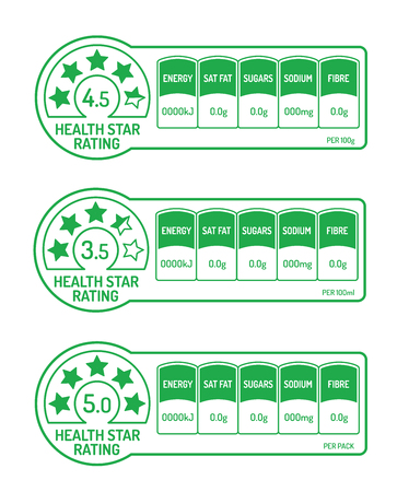 Nutrition facts labels with health star rating Vecteurs