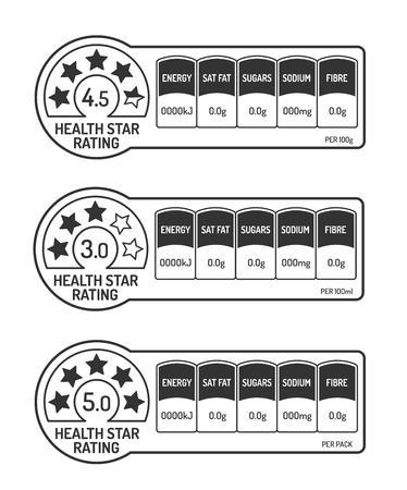 Nährwertangaben Etiketten mit Gesundheitsstern Bewertung schwarz und weiß gesetzt. Vektorillustration.