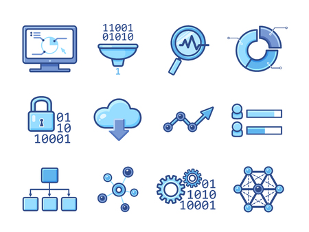 Data analytic icons set Illustration