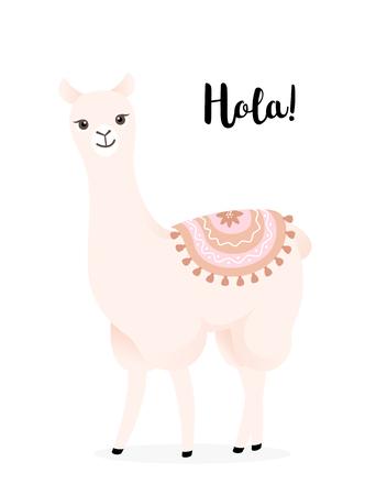 Cute cartoon llama with decoration. Hola lama