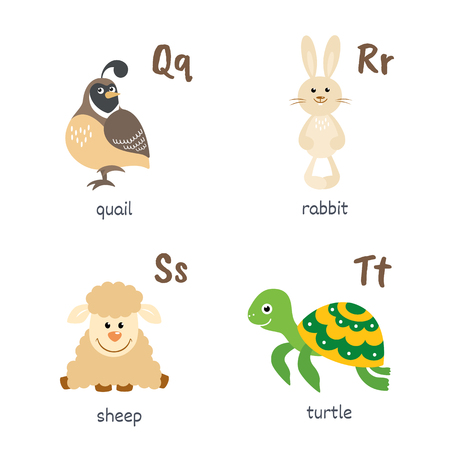 Animal alphabet with quail rabbit sheep turtle characters Ilustração