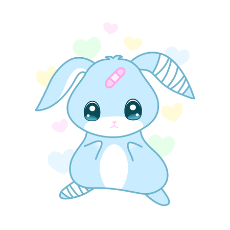 Cute suffering rabbit with injured ear and leg in yami kawaii style