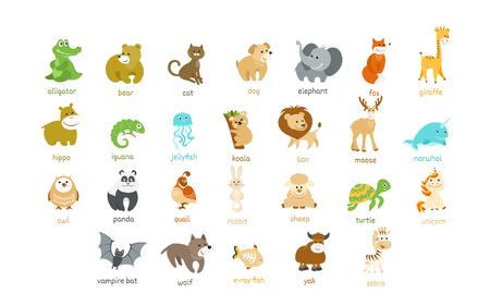 Ensemble de vecteur d'icônes d'animaux de dessin animé mignon