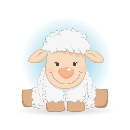 Cute funny sheep cartoon character Çizim