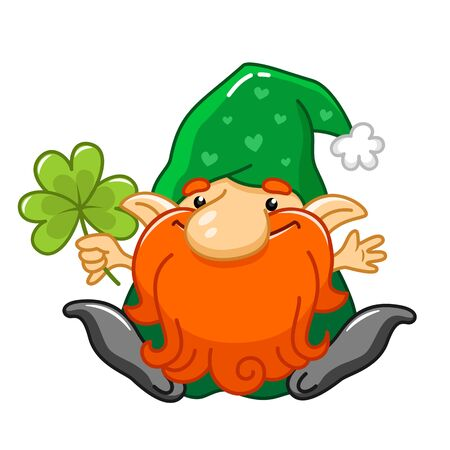 Cartoon gnome character for St Patrick day greetings