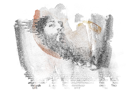 wisemen: Portrait of Wise Man Digital typography illustration of holly man with beard on fragment of paper and looking at you Stock Photo