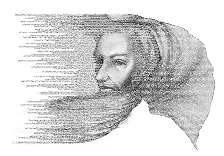 wise man: Portrait of Wise Man Digital typography illustration of holly man with flowing drapery on his head and looking behind Stock Photo