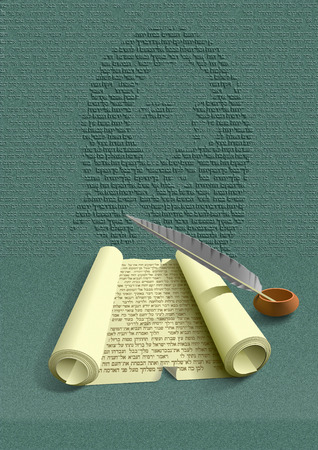 scripture: Holly Scripture Digital typography illustration show roll with Holly Scripture and feather. On paper is text of Old Testament where is prophecy of Jesus Christ