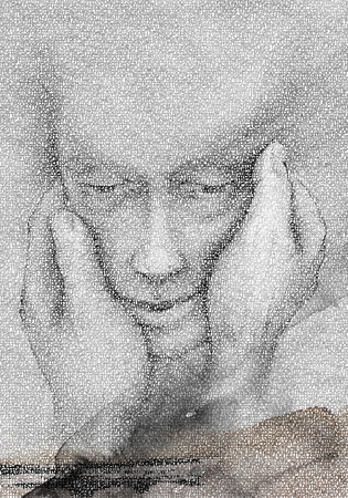 human kind: Two Hands To Mold Man Kind Digital typography illustration of two hands molding a human head