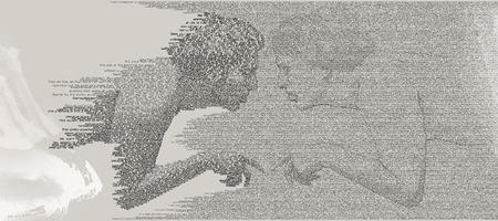 cognicion: Ecce Homo-Touch of Self Cognición Tipografía Digital Ilustración de hombre en un momento de auto-conocimiento