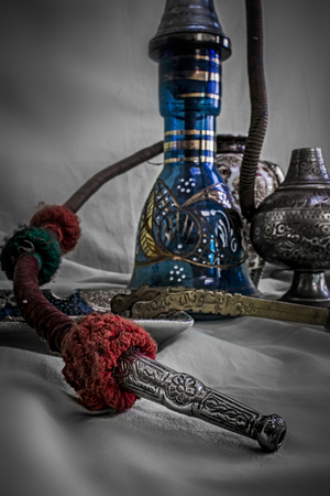 Nargile-Hookah With Engraved Equipment in Close up View Stock Photo