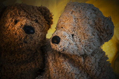 Two Teddy Bears, one is brown and the other white on green and yellow drapery in close up view Stock Photo