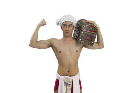 thai boy: thai boy and ancient cloth on white background Stock Photo