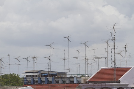 Group Of Antennas On Roof Photo