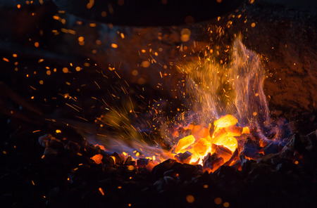 log fire: burning charcoal with fire and sparks