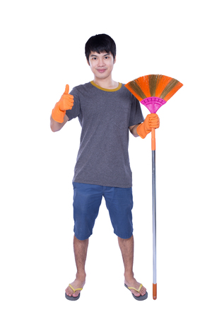 besom: cleaner with besom isolated on white background
