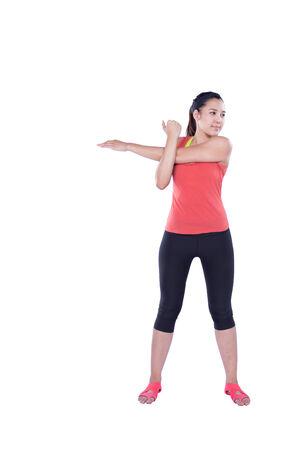warm up: sportiva donna scaldare isolato su sfondo bianco