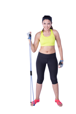 tricep: sport woman with exercise resistance band isolated on white background