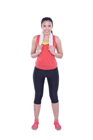 warm up: Sport donna scaldare isolato su sfondo bianco