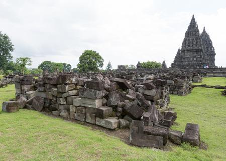 Ruins of Prambanan temple at Java, Indonesia Stock Photo