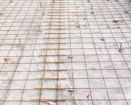 reinforcing: the reinforcing grid fastened with a wire from a channeled steel rod under filling of concrete floors