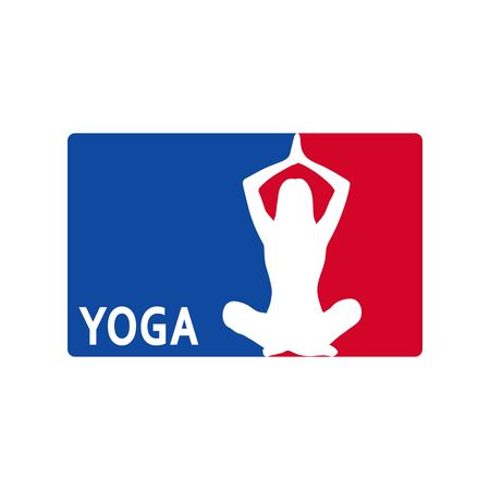 nba: Yoga illustration with red and blue background.