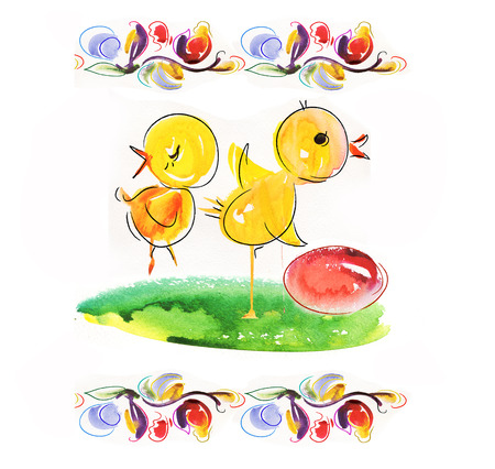 Happy Easter card with funny chickens   photo