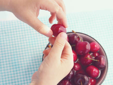 keep in touch: Cherries in a ceramic bowl on checkered table cloth with  hands of a child keeping one of the cherries above the bowl