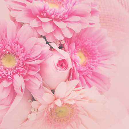 floreal: Floreal greeting card with a bunch of pink flowers - gerbers and roses