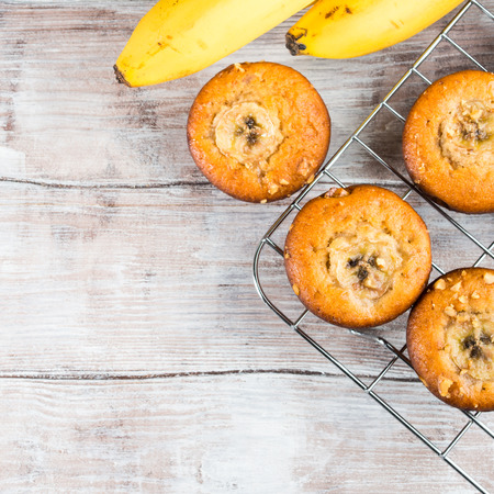 home made: Freshly baked home made spiced banana muffins with walnuts