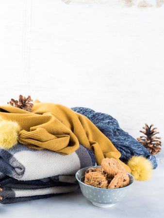 Home winter relax with woolen plaid and chocolate chip cookies. Time for cozy blanket sweater sweet snack