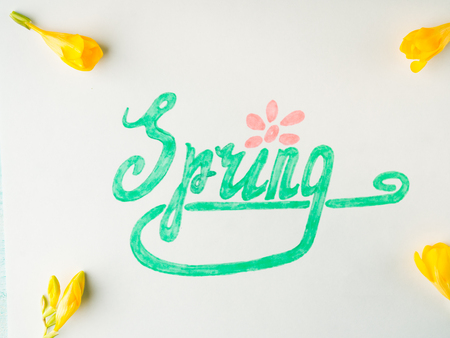 Spring word spelling by hand lettering and yellow flowers frame. Flat lay season mood
