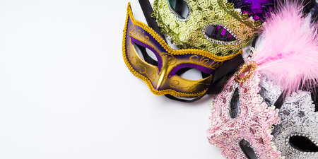 Colorful carnival masks on white background. Venetian masquerade