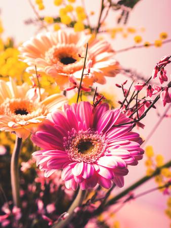 Bunch of beautiful flowers gerbera closeup. Woman, mother day greeting card.