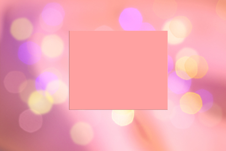 Abstract pink coral color blurred background with colorful light bokeh and frame for text. Imagens