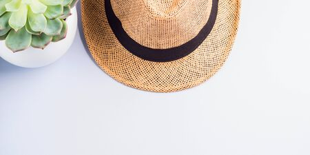 Straw hat and succulent plant on neutral gray background. Flat lay, copy space