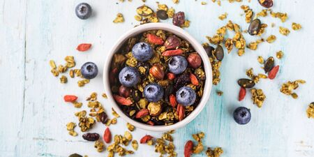 Home made matcha green tea granola in bowl on pastel turquoise background. Oats granola with goji berries, dried fruit, seeds and nuts. Healthy breakfast concept
