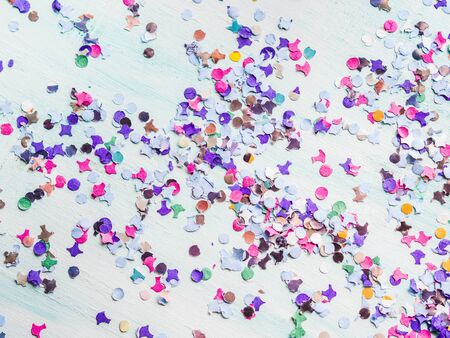 Colorful party festive background with confetti. Flat lay