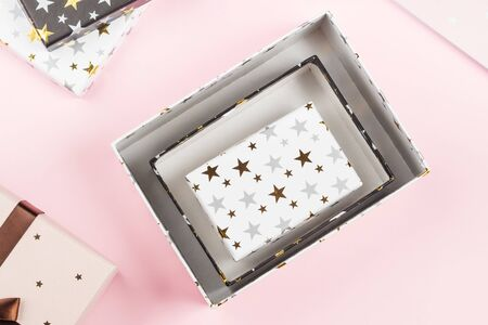 Gift boxes set on pink. Festive christmas, new year present concept Stock Photo