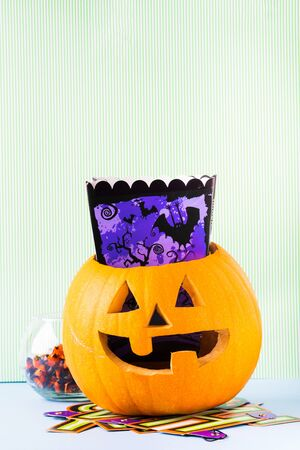Halloween carved squash bright still life background. Holiday party 스톡 콘텐츠 - 130014248
