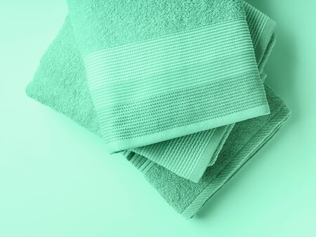 Mint gree color clean folded towels. Neo mint green color of 2020