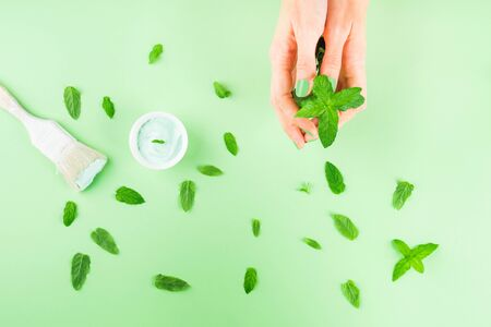 Hand with mint and paint brush on green mint background. Redecorating, renovation concept. Fashion and interior design trend for 2020 Imagens